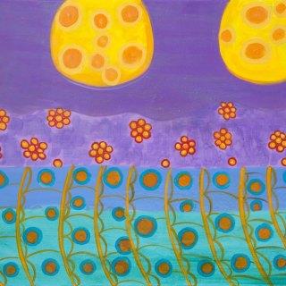 "acrylics, glitter & resin on canvas, 24""x36"", 2012"