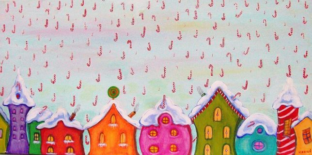 Candy Canes, 2010, acrylic on canvas, 15 in x 30 in