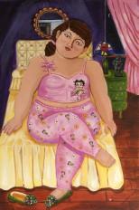 """Betty Boop,"" acrylics on canvas, 24"" x 36"""