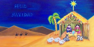 Feliz Navidad, 2012, acrylic on canvas, 15 in x 30 in