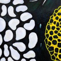 """""""Clown,"""" acrylics, glitter & resin on canvas, 24""""x36"""", 2012"""