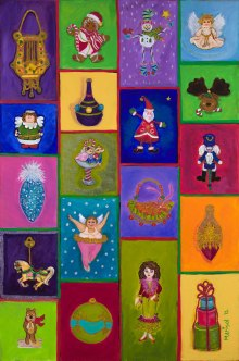 My Tree Ornaments, 2012, acrylic on canvas, 15 in x 30 in