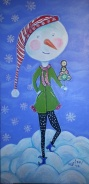 Snowgirl, 2014, acrylic on wood, 24 in x12 in acrylics on wood