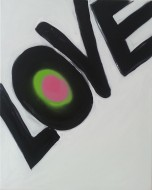 Love, Spray paint on canvas, 2015, 20 in x 15 in