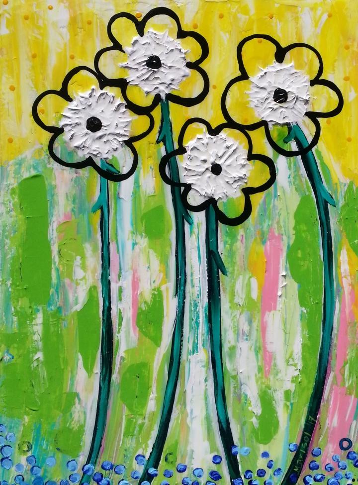 flour flowers-acrylic on canvas